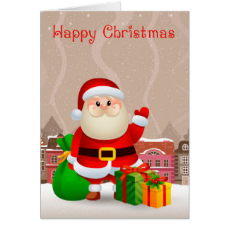 Santa In A Snowy Village / Town, With Sack and Gif Card