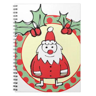 Santa in a Wreath Spiral Notebook