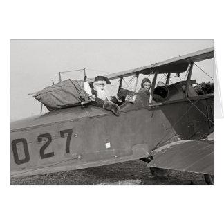 Santa in an Airplane, 1921 Card