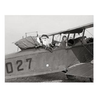 Santa in an Airplane, 1921 Postcard