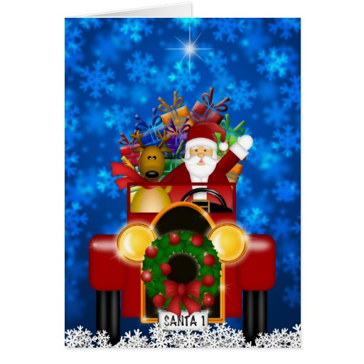 Santa in Antique Car Card
