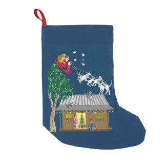 Santa in Australia has six white boomers Small Christmas Stocking