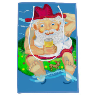 Santa in Australia Medium Gift Bag