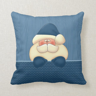 Santa in Blue and Winter White Christmas Throw Pillow