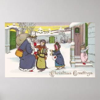 Santa in Blue Coat Greets Children Poster