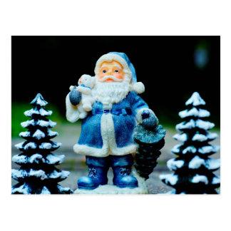 Santa in Blue Postcard
