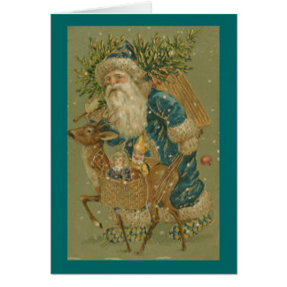 Santa in Blue with Reindeer Christmas Card