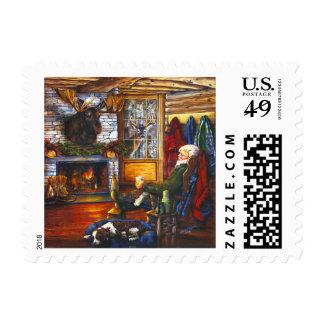Santa In Cabin | Rustic Christmas Holiday Custom Postage