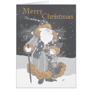 Santa in Chalk Gray Greeting Cards