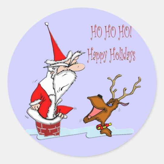 Santa in Chimney Classic Round Sticker
