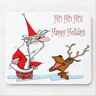 Santa in Chimney Mousepads