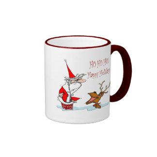 Santa in Chimney Ringer Coffee Mug