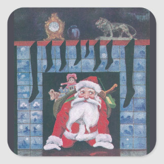 Santa in Fireplace Vintage Christmas Square Sticker