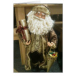 SANTA IN GOLD WISHES MERRY CHRISTMAS GREETING CARDS