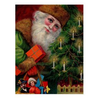 Santa in Green Postcard
