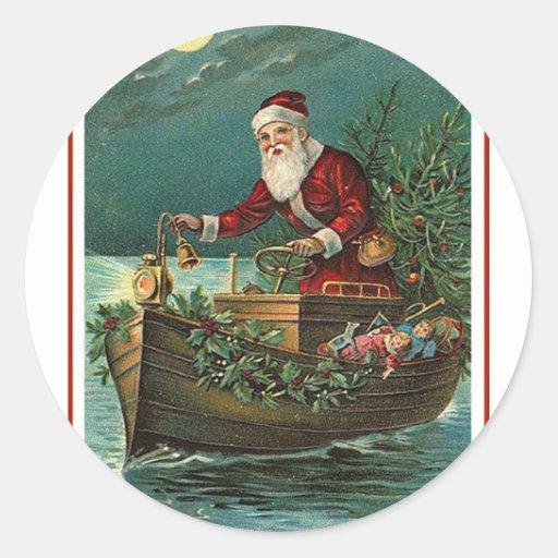 Santa in his Boat Classic Round Sticker