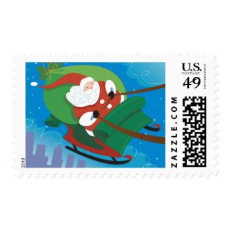 Santa in his sleigh on Christmas eve Stamp