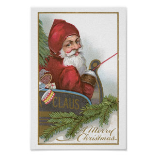 Santa in his sleigh on Christmas Poster