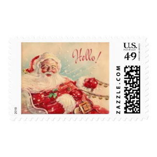 Santa in his sleigh postage stamp