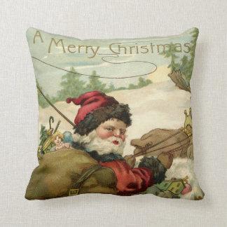 Santa in his Sleigh Throw Pillow