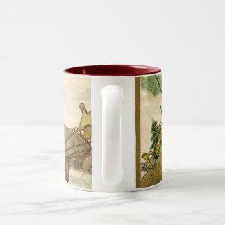 Santa in his Sleigh Two-Tone Coffee Mug