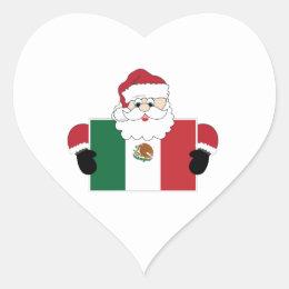 Santa In Mexico Heart Sticker