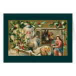 Santa IN NATIVITY SCENE Greeting Card