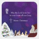 Santa in Nativity Sticker