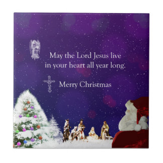 Santa in Nativity Tile