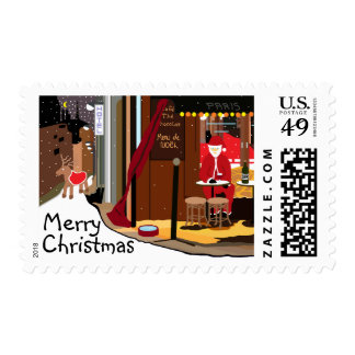 Santa In Paris Christmas Postage