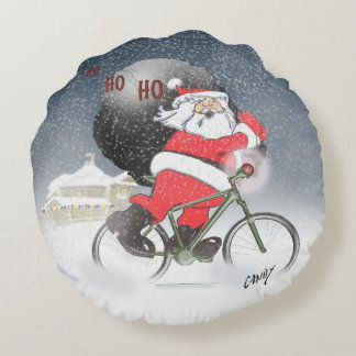 Santa in Santa suit and also in swimming trunks. Round Pillow