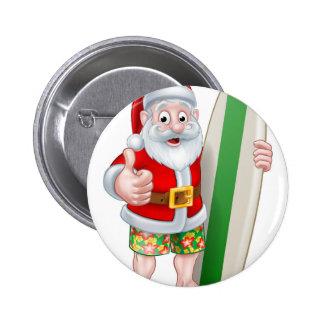Santa in Shorts Holding Surfboard Pinback Button