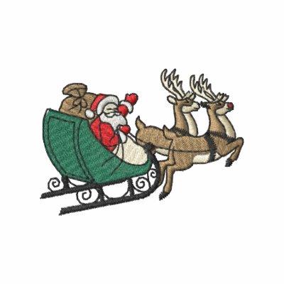 Santa In Sleigh Embroidered Polo Shirt