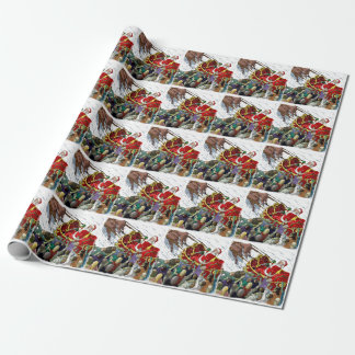 Santa in Sleigh Fighting Zombies Wrapping Paper