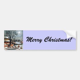 Santa in Sleigh with reindeer Car Bumper Sticker