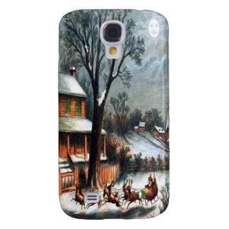 Santa in Sleigh with reindeer Samsung Galaxy S4 Cases