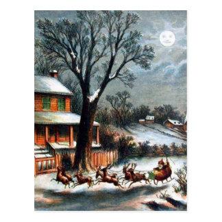 Santa in Sleigh with reindeer Postcard