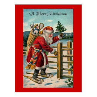 """Santa in Snowshoes"" Postcard"