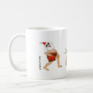 Santa in swimming trunks with a snow sandman. coffee mug