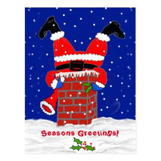 Santa in the Chimney Postcard