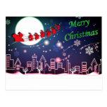 Santa in the Night Sky Postcard
