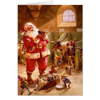Santa in the Reindeer Barn Card