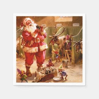 Santa in the Reindeer Barn Napkin