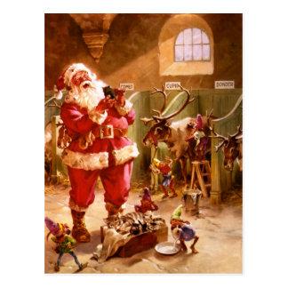 Santa in the Reindeer Barn Postcard