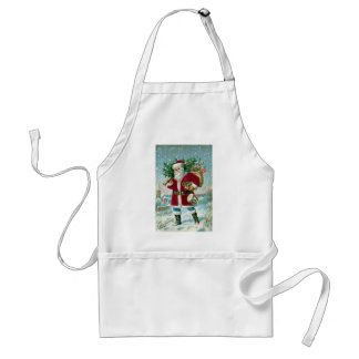 Santa in the Snow Carrying Drum and Tree Apron