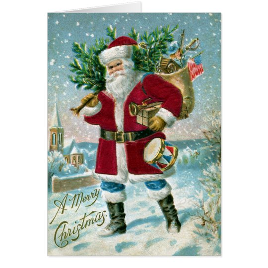 Santa in the Snow Carrying Drum and Tree Card