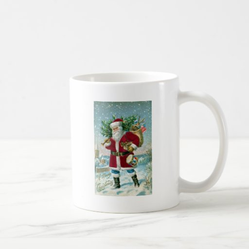 Santa in the Snow Carrying Drum and Tree Classic White Coffee Mug