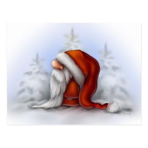 Santa in the snow postcards