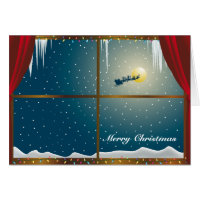 Santa in the Window Merry Christmas Card