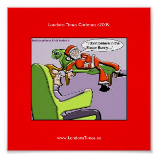 Santa In Therapy Funny Christmas Posters